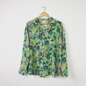 2/$20 J. Jill Floral Printed Button Down Shirt